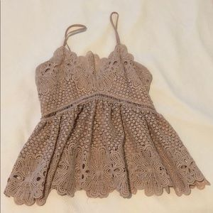 Toni pink lace peplum top